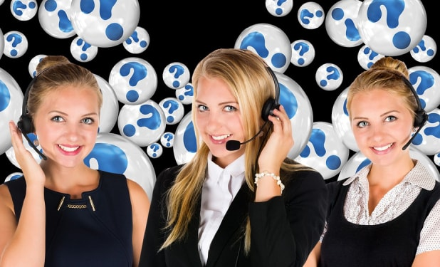 Three ladies working on a call center